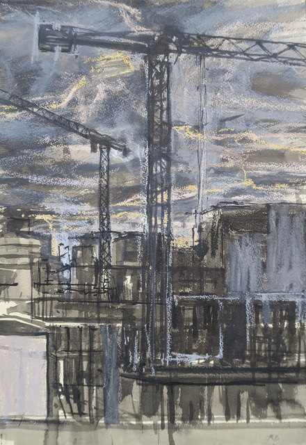 , 'Brentford Tower Cranes, Evening,' , Mall Galleries
