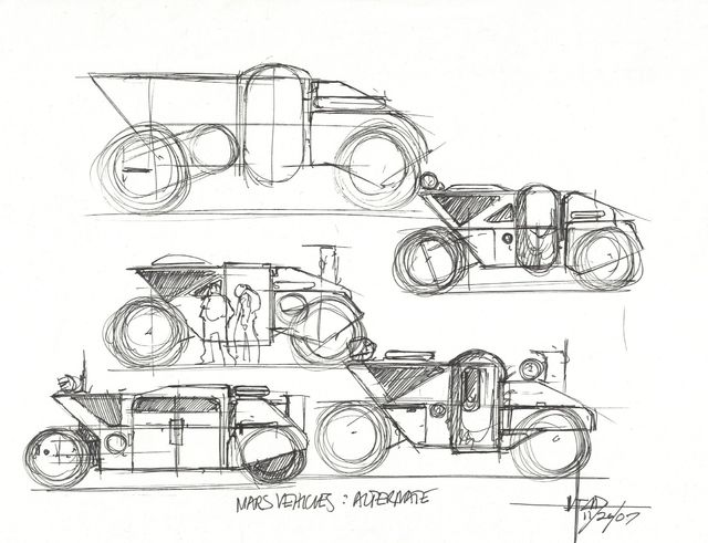 Syd Mead, 'Concept Sketch for Aliens Game, Mars Last Resort Vehicles Alternative', 2007, Edward Cella Art and Architecture