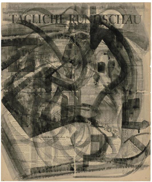 , 'Bewegte Pinselzüge in Schwarz, kreisend auf Zeitung,,' 1948, Galerie Doebele