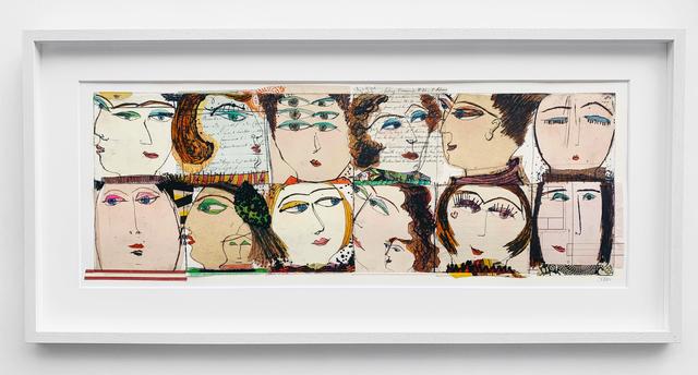 Kristiane Semar, 'Twelve Heads', 2020, Mixed Media, Slightly handcoloured Drypoint from Perspex on Chine Collée on Zerkall Alt Bern 250 gsm, Dreipunkt Edition