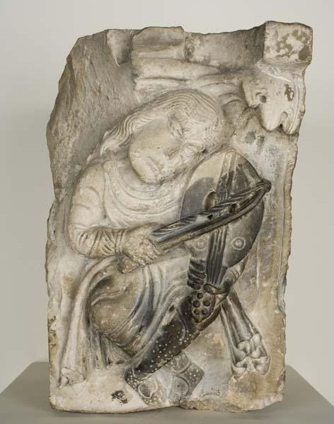 Unknown Artist, 'Capital (Musician Playing a Vielle)', ca. 1125-50, Davis Museum