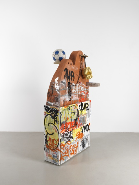 John Isaacs, 'No Daddy No', 2018, Sculpture, Terracotta, wood, steel, spray paint, 24 carat gold leaf, plastic, Aeroplastics