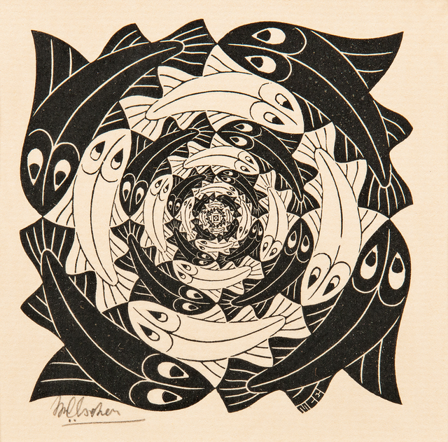 Maurits Cornelis Escher, 'Fish, Vignette', 1956, Print, Woodcut on paper, Skinner