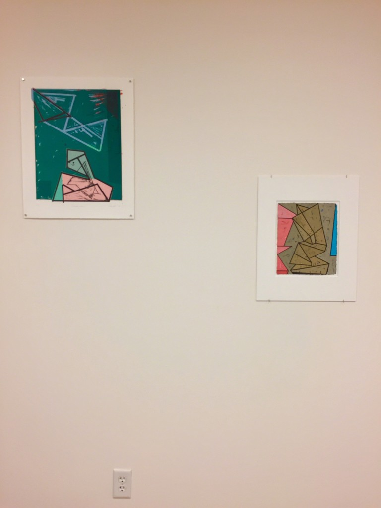 "Installation view 6 – l to r, ""Stacked spaces – Imaginary places #4"", ""Passing Over"", ""Fictive Monument #3"" and ""Slippage – Space #1"""