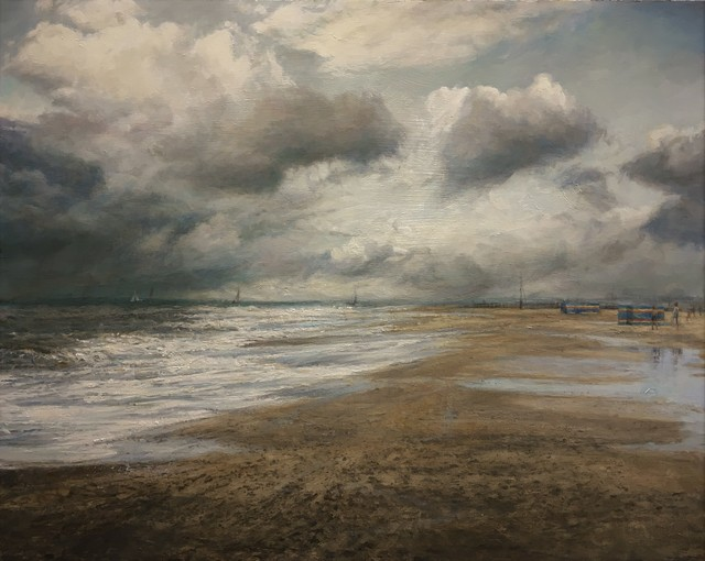 , 'Distant Boys and Boats, Southwold,' 2017, Mall Galleries
