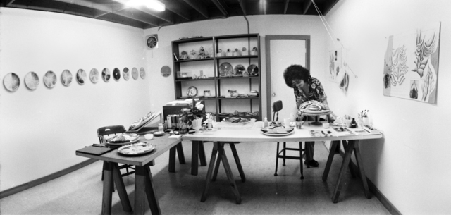 ", 'Judy Chicago in ""The Dinner Party"" China Painting Studio,' 1975, Brooklyn Museum"
