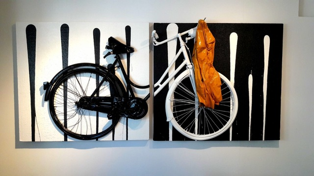, 'Bike black and white with beige jaquet,' 2017, Galleria Ca' d'Oro