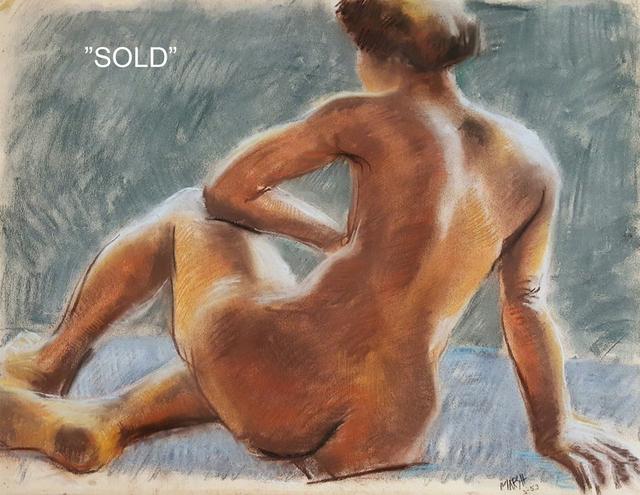 Reginald Marsh, 'Sitting Nude', 1953, Painting, Pastel on heavy paper mounted to illustration board, Robert Funk Fine Art