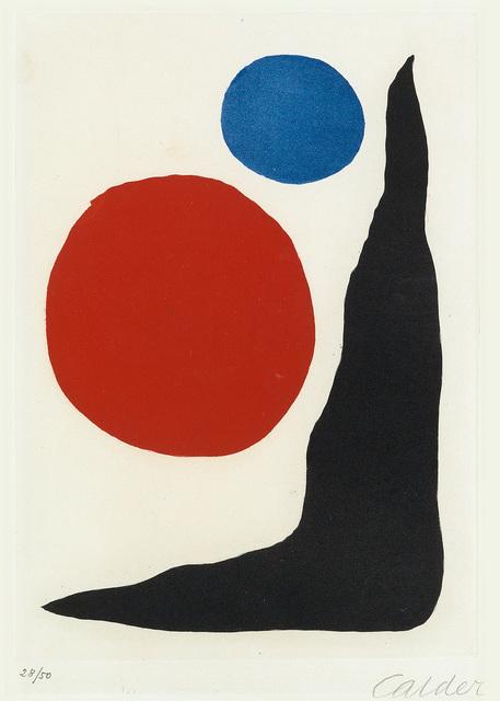 Alexander Calder, 'Red and Blue Circles and Black Boomerang', circa 1970, Swann Auction Galleries