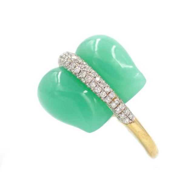 , 'Australian Chrysoprase Diamond Pave Gold Ring ,' , form & concept
