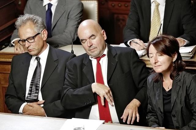 """G.R.A.M., 'from the series Reenactments """"Ein Trio des Stillstandes: Guido Westerwelle, Philipp Rösler, Angela Merkel.""""', 2013, Christine König Galerie"""