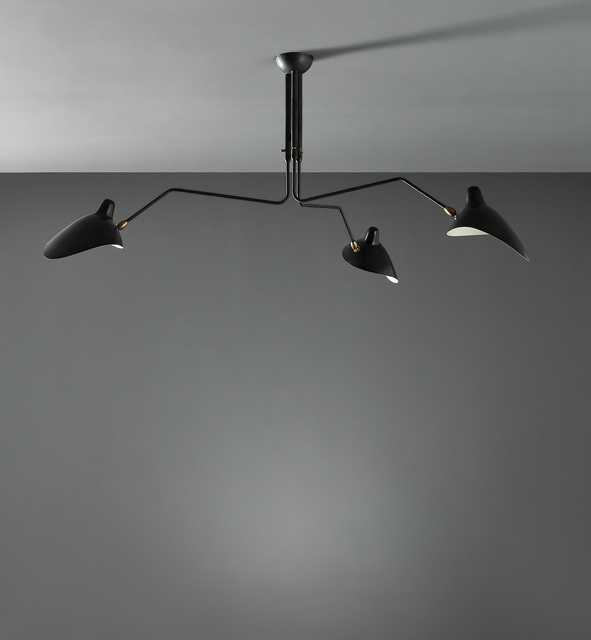 "Serge Mouille, 'Three-armed adjustable ceiling light with ""Casquette"" shades', circa 1958, Phillips"