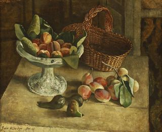 STILL LIFE OF FRUIT AND A BASKET ON A TABLE