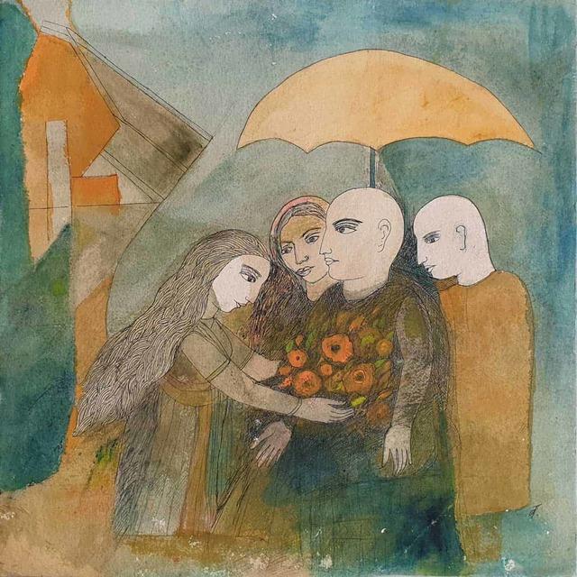 ", 'Offerings, Watercolor on Paper, Green, Brown by Indian Padmashree Artist ""In Stock"",' 2012, Gallery Kolkata"