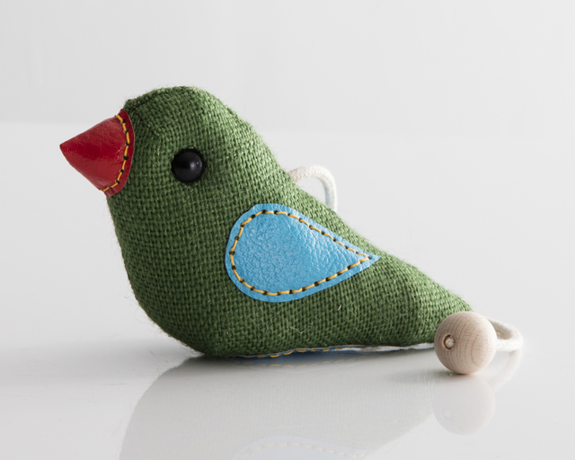 ", '""Therapeutic Toy"" Bird in green jute and leather detailing. Originally designed and made by Renate Müller in 1981/82. This example made by Renate Müller, Germany, 2016.,' 2016, R & Company"
