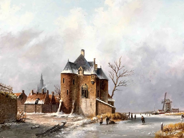 , 'Castle along the ice with skaters,' , ArtBoutique