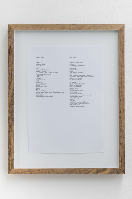 , 'Andreas' titles, Oscar's titles,' 2014, MAK Center for Art and Architecture
