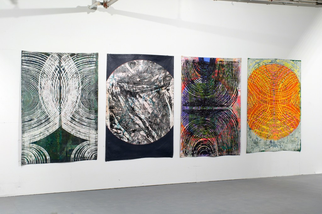 Four large tarp paintings by Jason Rohlf