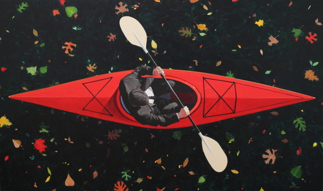 , 'Kayaker with Leaves,' 2017, Greg Thompson Fine Art