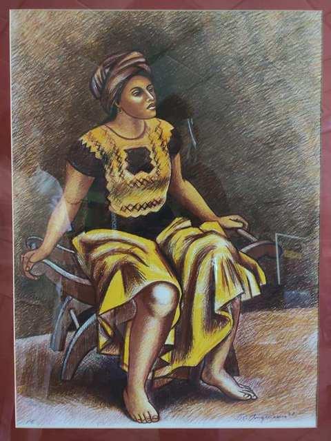 Raúl Anguiano, 'Emilia Sentada', 1987, Print, Litografia, CERVANTES