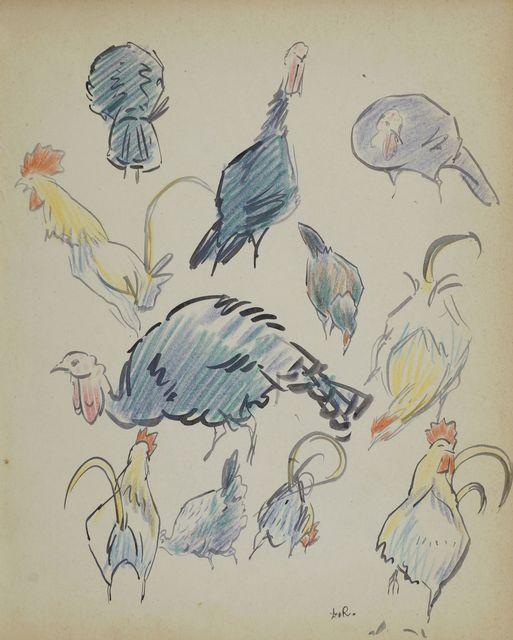 Ludovic-Rodo Pissarro, 'Studies of figures and chickens', Roseberys