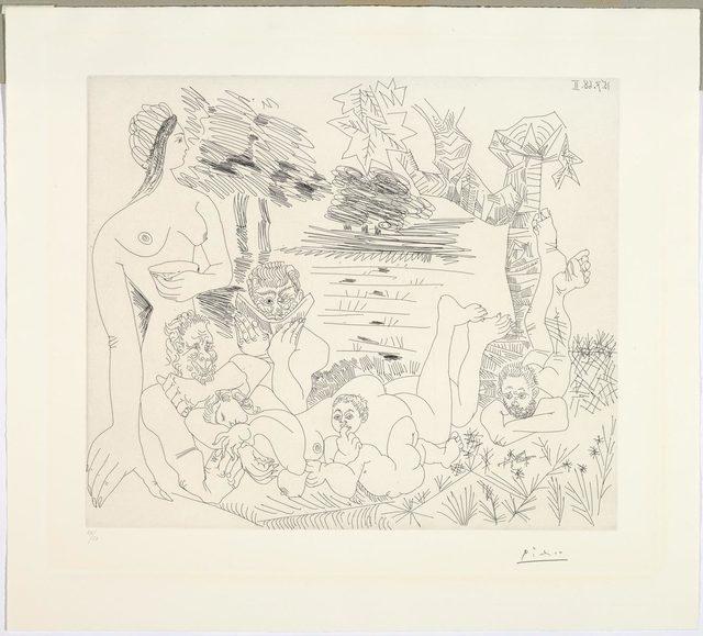 Pablo Picasso, 'Scène pastorale poussinesque sur le thème de pan et syrinx', 1968, Print, Etching, Koller Auctions