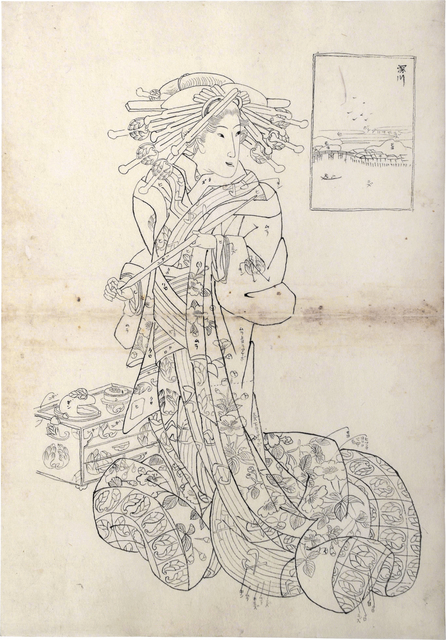 Teisai Sencho, 'Preparatory Drawing for print of Flourishing Scenes of the East: Fukagawa, Aimachi of the Sugata-Ebiya', 1830's, Drawing, Collage or other Work on Paper, Sumi ink on paper, Scholten Japanese Art
