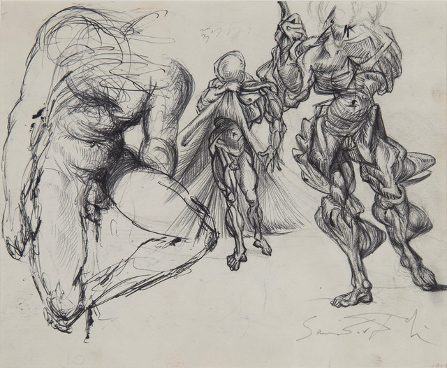 Salvador Dalí, 'Étude de figures masculines, trois érotiques et étude pour le tableau : Vitesse maximale de la vierge de Raphaël', ca. 1952-1954, HELENE BAILLY GALLERY