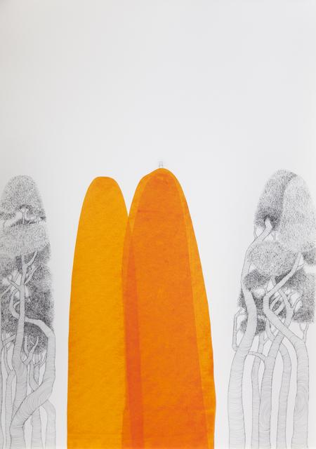 María Ángeles Atauri, 'Orange Mountain', 2021, Painting, Ink on paper, Galería Marita Segovia