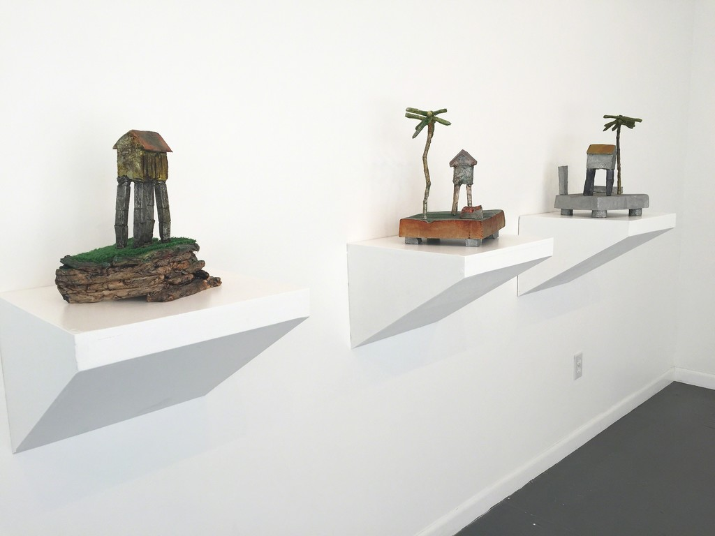 Karl X. Hauser, house sculptures, cold cast aluminum and ceramic with cold cast aluminum.