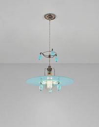 Rare six beaded 'Halo' ceiling light, designed for Gledstone Hall, Skipton, North Yorkshire