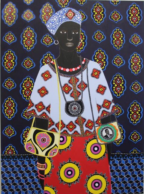 Carla Kranendonk, 'Mamouna ', 2019, Painting, Hand embroidery, beadwork, acrylic and collage on canvas, Rebecca Hossack Art Gallery