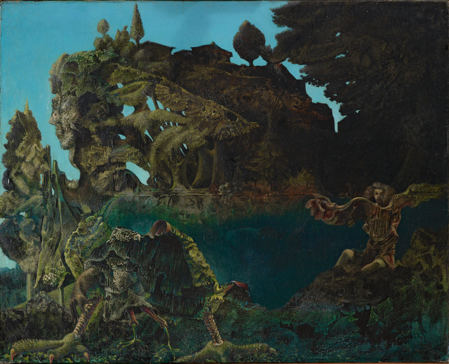 Max Ernst, 'Swampangel', 1940, Painting, Oil on canvas, wooden frame covered in velvet by the artist, Fondation Beyeler