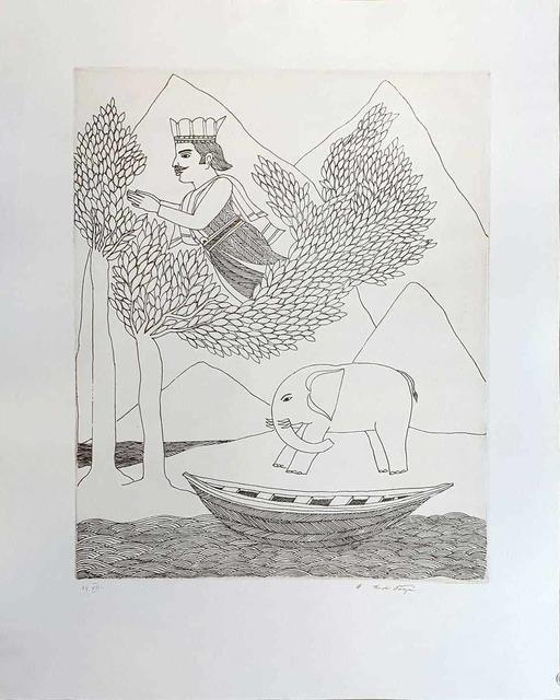 "Badri Narayan, 'King, Elephant & Boat, Etching on Paper by Padmashree Artist Badri Narayan ""In Stock""', ca. Circa, Gallery Kolkata"