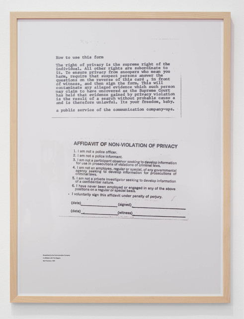 , 'Broadsheet by The Communication Company,' 2018, The Hole