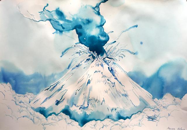 , 'Paisaje con volcán ,' 2017, Machete
