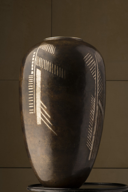 , 'Large vase in metal with geometrical silver inalys,' ca. 1915, Vallois SAS