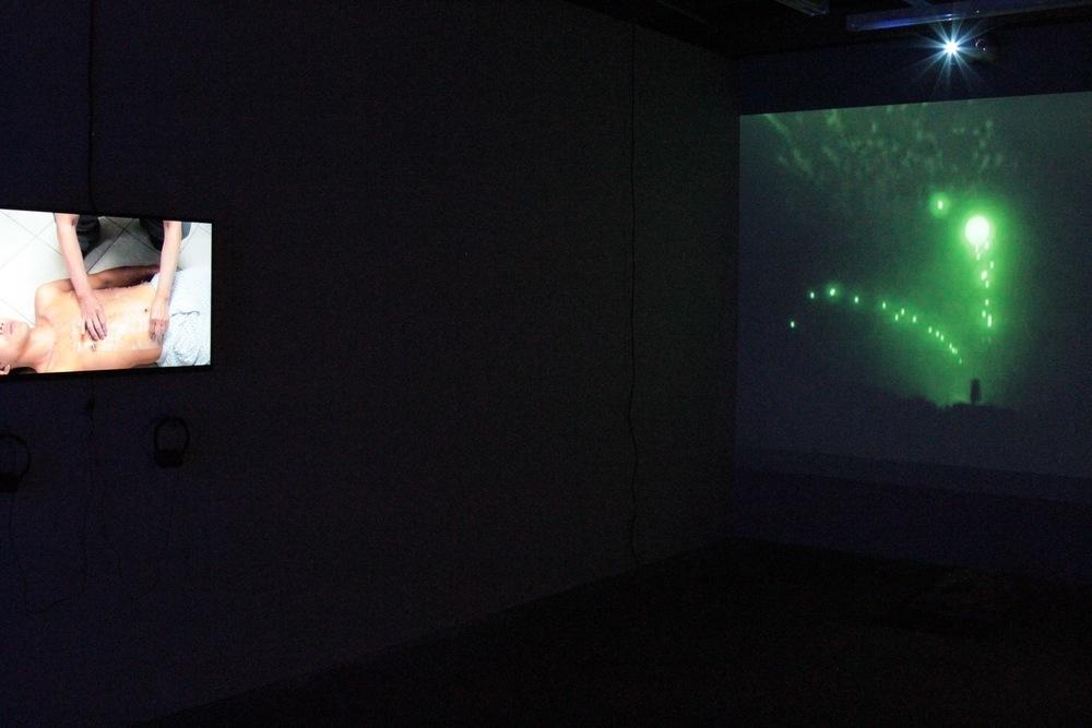 Kenneth Tam, Sump, 2015 (left), Deanna Erdmann, Untitled (Green), 2011, (right).