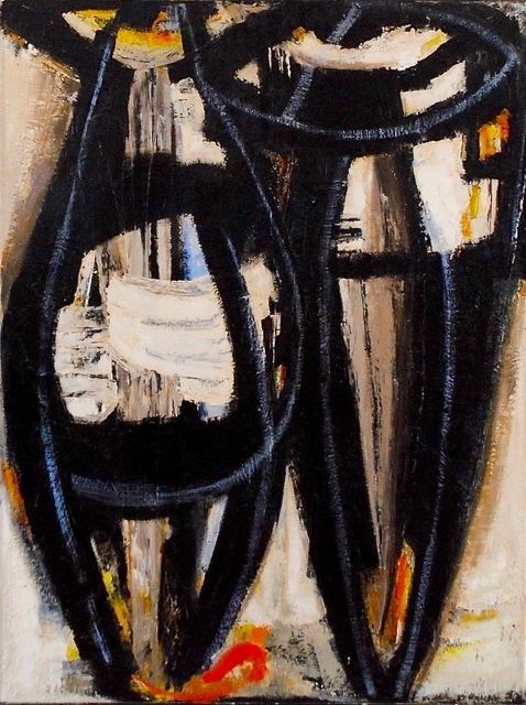 Dusti Bongé, 'Untitled (Two Abstract Figures in White, Black and Blue)', 1955, Amanda Winstead Fine Art