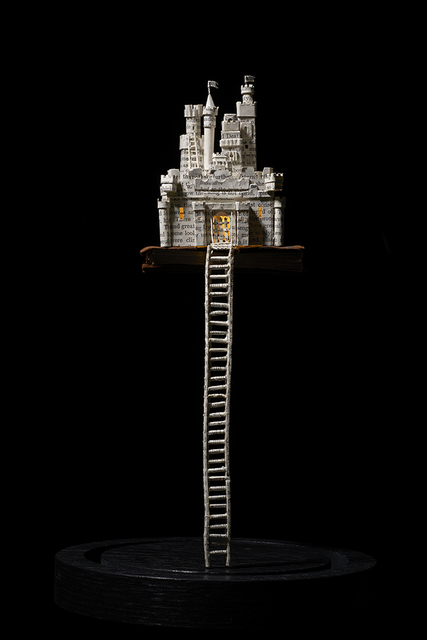 Su Blackwell, 'Castle in the Sky', 2018, Sculpture, Paper sculpture, miniature book in glass dome, with lights, Long & Ryle