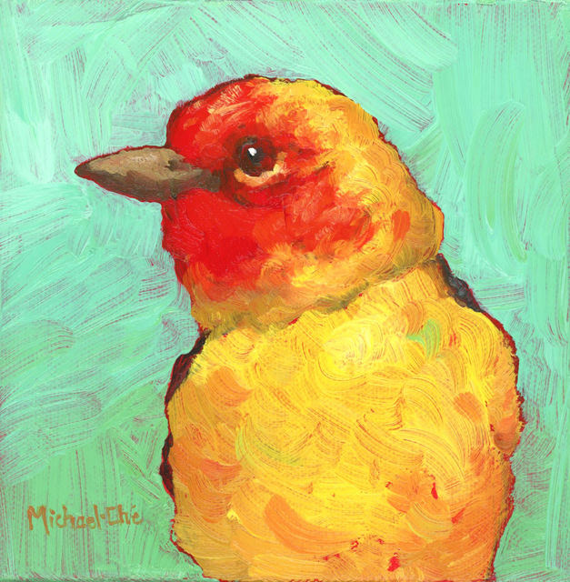 "Michael-Che Swisher, '""The Summer Glow"" Oil portrait of a yellow and red bird with green background', 2019, Eisenhauer Gallery"