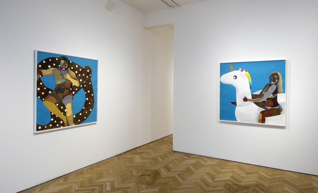 Derrick Adams, Floater No. 24 (pretzel), 2016 and Floater No. 28 (unicorn), 2016