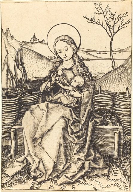 Martin Schongauer, 'Virgin and Child on a Grassy Bench', ca. 1475/1480, Print, Engraving, National Gallery of Art, Washington, D.C.
