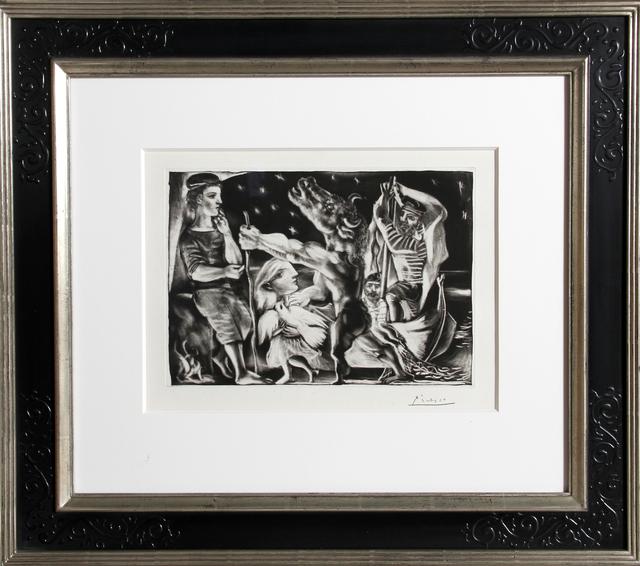 Pablo Picasso, 'Minotaure aveugle guidé par Marie-Thérèse au Pigeon dans une nuit étoilée from La Suite Vollard', 1934, Print, Aquatint, Grattoir, Drypoint and Burin on Montval laid paper with Vollard watermark, RoGallery