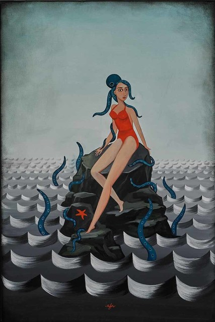 Anne Faith Nicholls, 'Girl with Octopus on Rocks', 2015, Martin Lawrence Galleries