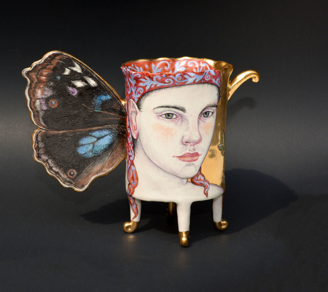 Irina S. Zaytceva, 'Junonia', 2018, Sculpture, Porcelain, over glaze painting, gold luster, Duane Reed Gallery