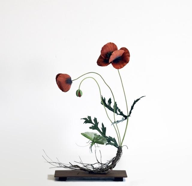 , 'Red Poppy with Flying Green Grasshopper,' 2019, Octavia Art Gallery