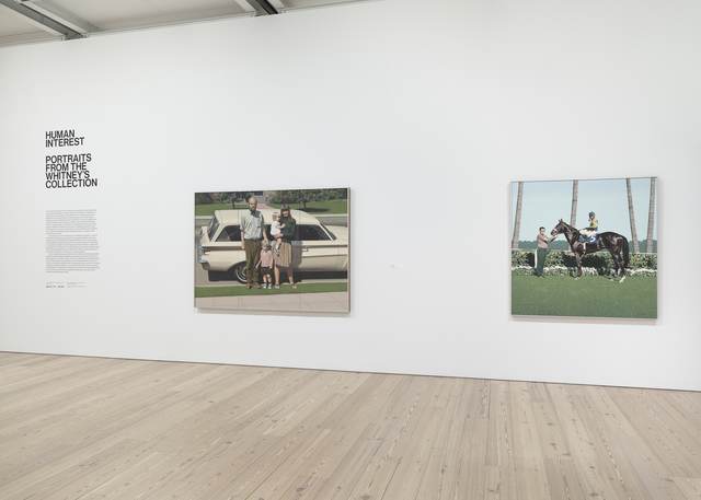 "Installation view of ""Human Interest: Portraits from the Whitney's Collection"" (April 27, 2016-Feb 12, 2017, Whitney Museum of American Art, N.Y.). From left to right: Robert Bechtle, ""61' Pontiac"" ,70.16, Richard McLean, ""Still Life with Black Jockey"", 70.17"