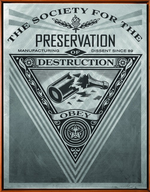 Shepard Fairey, 'Society of Destruction', 2015, Print, Screen print on metal (aluminium), Underdogs Gallery