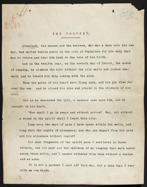 , 'Mecanografía de El Profeta por la casa editora Alfred A. Knopf,' ca. 1923, Museo Soumaya